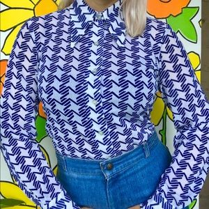 Vintage 70s dagger collar houndstooth blouse S